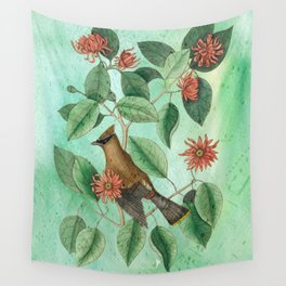 Bohemian Waxwing with Carolina Allspice, Antique Natural History Collage Wall Tapestry