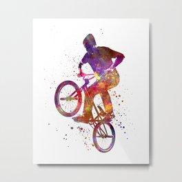 Man bmx acrobatic figure in watercolor Metal Print