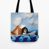 caleb troy Tote Bags featuring Troy Marinera ~ Sailor by Marivi Troy
