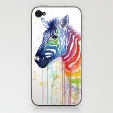 Zebra Watercolor Rainbow Animal Painting Ode to Fruit Stripes iPhone & iPod Skin