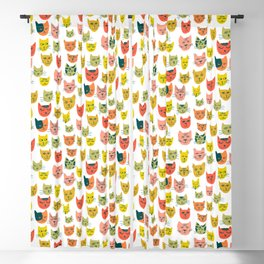 Meow! Colorful Cats Illustration Blackout Curtain