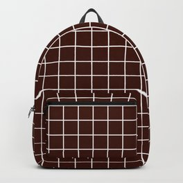 Black bean - purple color - White Lines Grid Pattern Backpack