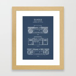 Boombox blueprints Framed Art Print