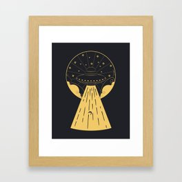 Retro design of flying ufo ship and human silhouette Framed Art Print