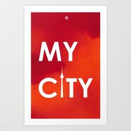 MyCity-Berlin-RedOrangeA Art Print