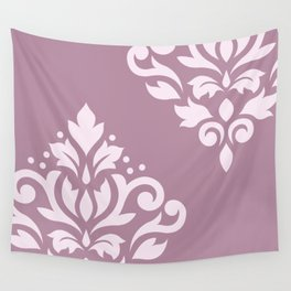 Scroll Damask Art I Pink on Mauve Wall Tapestry