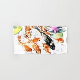 Nine Koi Fish, 9 KOI, feng shui artwork asian watercolor ink painting Hand & Bath Towel