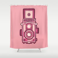 vintage camera Shower Curtains featuring Vintage Camera by evannave
