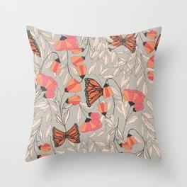 Monarch garden 001 Throw Pillow