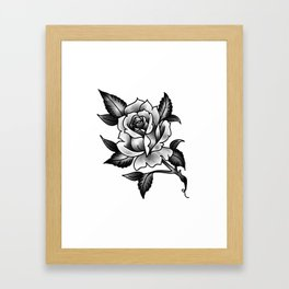 Black and Grey Rose Framed Art Print
