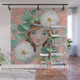 Painted Girl on Coral Background Wall Mural