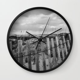 Black and White Beach Fence Wall Clock