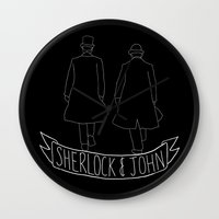 johnlock Wall Clocks featuring Sherlock & John by worksbeautifully