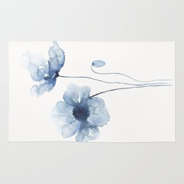 Blue Watercolor Poppies Rug