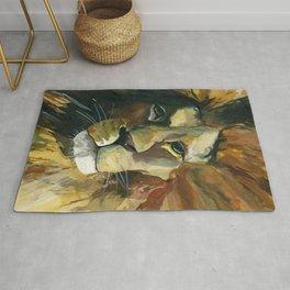 Lion art painting - African wildlife - Africa´s big five artwork Rug