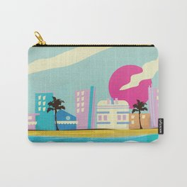 Retro 1980s Miami cartoon seafront Carry-All Pouch