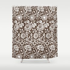 """William Morris Floral Pattern   """"Pink and Rose"""" in Chocolate Brown and White Shower Curtain"""