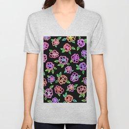 Neon Flowers Print Unisex V-Neck