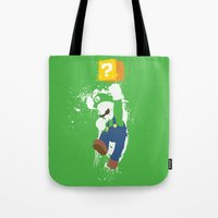 luigi Tote Bags featuring Luigi Paint by The Daily Robot