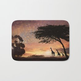 Purple Safari Sunset- giraffe family Bath Mat