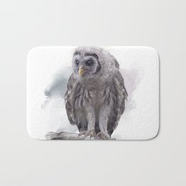 Young Barred Owl Perches on a Branch,Watercolor painting Bath Mat