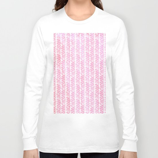 Handpainted Chevron pattern-small- pink watercolor on white Long Sleeve T-shirt