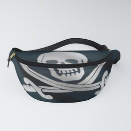 Waving black pirate flag. Fanny Pack