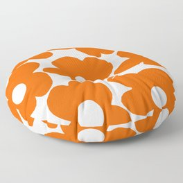 Orange Retro Flowers White Background #decor #society6 #buyart Floor Pillow