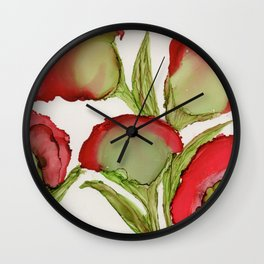 Red Flowers By Heather Hayes Wall Clock