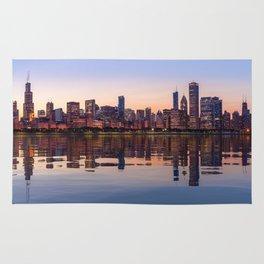 Widescreen panorama of Chicago Skyline Rug