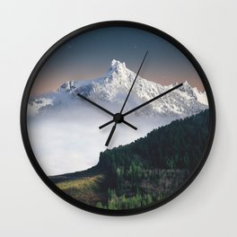 Fairytale Landscape Snow Capped Mountain Lush Green Forest Wall Clock