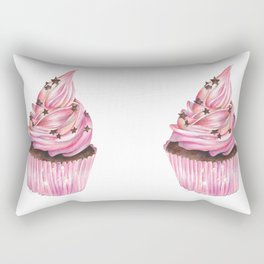 Pink Iced Cupcake with Chocolate Stars Rectangular Pillow