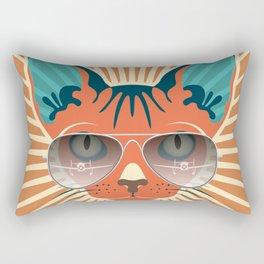 Retro Hipcat & His Sunglasses - Raw Sienna Sunburst Rectangular Pillow