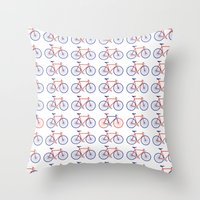 bikes Throw Pillows featuring Bikes  by Keep It Simple