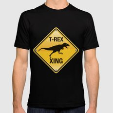 T-Rex Crossing Black Mens Fitted Tee SMALL