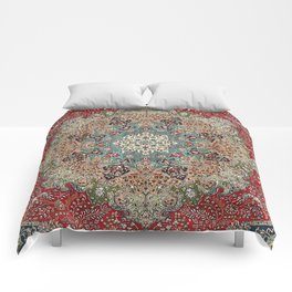 Antique Red Blue Black Persian Carpet Print Comforters