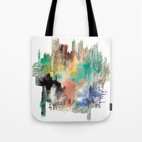 skyline Tote Bags featuring Skyline by I disegni di Mae