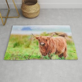 Long haired Highland cattle watercolor Rug
