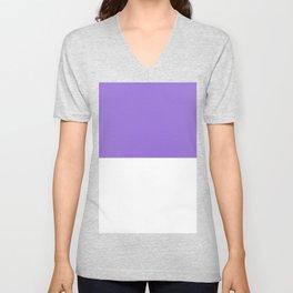 White and Dark Pastel Purple Horizontal Halves Unisex V-Neck