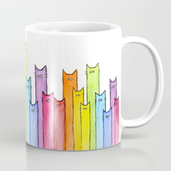 Cat Rainbow Watercolor Pattern by olechka