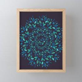 Blue Leaves Mandala Framed Mini Art Print