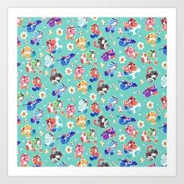 Coloured Yoshis Art Print