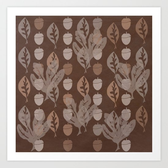 Leaves and Acorns Art Print