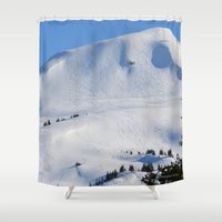 skiing Shower Curtains featuring Back-Country Skiing  - III by Alaskan Momma Bear