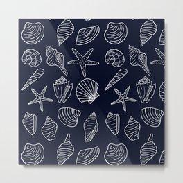 Navy Blue And White Seashell pattern Metal Print