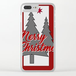 Tree Merry Christmas grey red III Clear iPhone Case