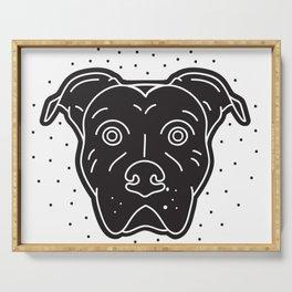 Black Pitbull Head Dog Print Serving Tray