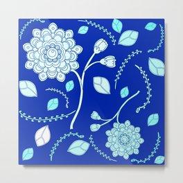 Flying Flowers in Blue Metal Print