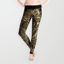 Lotus Black & Gold Leggings