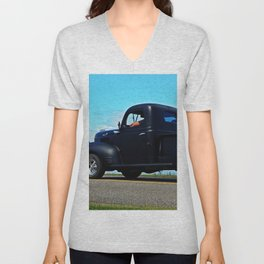 Cruising the Waterfront in the old Fargo Unisex V-Neck